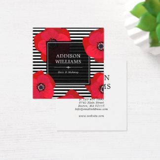 Cartão De Visitas Quadrado Papoilas vermelhas & listras pretas