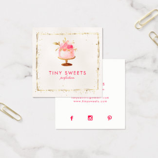 Cartão De Visitas Quadrado Patisserie, padaria, bolos & doces bonitos do ★
