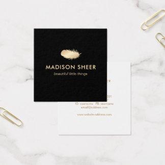 Cartão De Visitas Quadrado Pena à moda preta do ouro