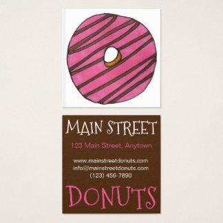Cartão De Visitas Quadrado Pequeno almoço cor-de-rosa da loja de filhós da