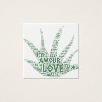 Cartão De Visitas Quadrado Planta de Alove Vera ilustrada com palavra do amor