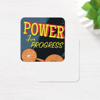 Cartão De Visitas Quadrado Poder para o poster atômico do vintage do