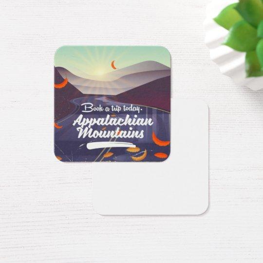 Cartão De Visitas Quadrado Poster das viagens vintage das montanhas apalaches