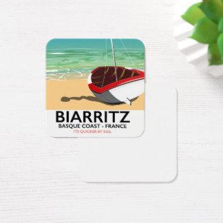 Cartão De Visitas Quadrado Poster de viagens da praia de Biarritz France
