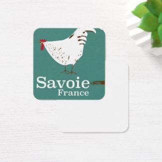 Cartão De Visitas Quadrado Poster de viagens do galo novo de Sabóia France