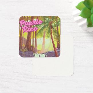 Cartão De Visitas Quadrado Poster de viagens tropical da palma de Puerto Rico