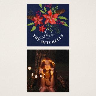 Cartão De Visitas Quadrado Presente do Natal do azevinho do visco do pinho da