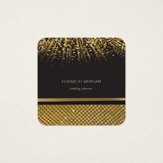 Cartão De Visitas Quadrado Preto à moda elegante, Sequins do ouro, confetes
