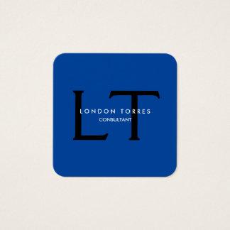 Cartão De Visitas Quadrado Preto azul na moda do monograma quadrado moderno