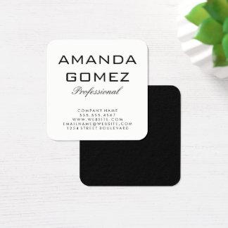 Cartão De Visitas Quadrado Preto branco minimalista