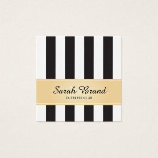 Cartão De Visitas Quadrado Preto e branco listrado com ouro do falso