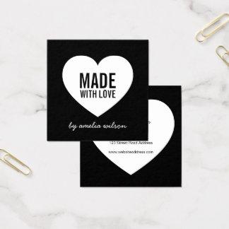 Cartão De Visitas Quadrado Preto e branco moderno feito com coração do amor