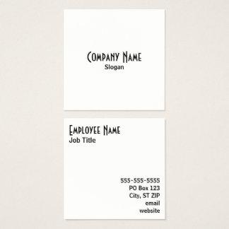 Cartão De Visitas Quadrado Preto e branco simples
