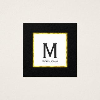 Cartão De Visitas Quadrado Preto feito sob encomenda do monograma e ouro do