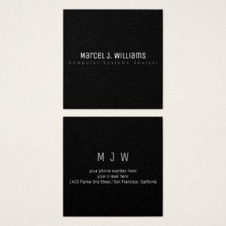 Cartão De Visitas Quadrado preto liso simples profissional moderno