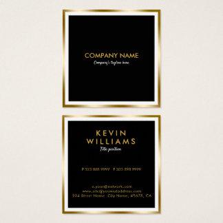 Cartão De Visitas Quadrado Preto moderno & quadro geométrico do ouro