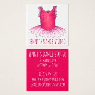 Cartão De Visitas Quadrado Professor cor-de-rosa do balé do estúdio da dança