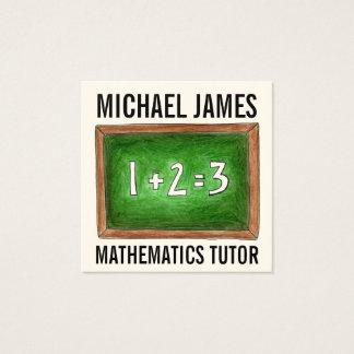 Cartão De Visitas Quadrado Professor verde do tutor da matemática da ardósia