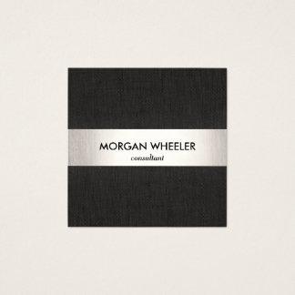 Cartão De Visitas Quadrado Profissional listrado da prata preta moderna
