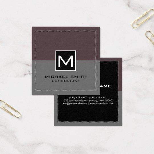 Cartão De Visitas Quadrado Puce cinzento moderno elegante do monograma