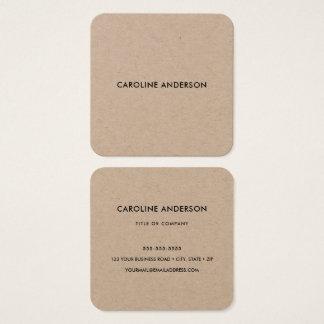 Cartão De Visitas Quadrado Quadrado rústico do profissional do papel de