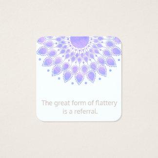 Cartão De Visitas Quadrado Referência do cliente da mandala da flor de Lotus