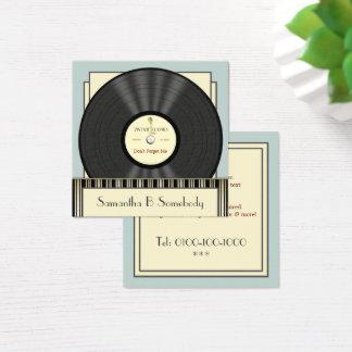 Cartão De Visitas Quadrado Registro de vinil clássico do vintage