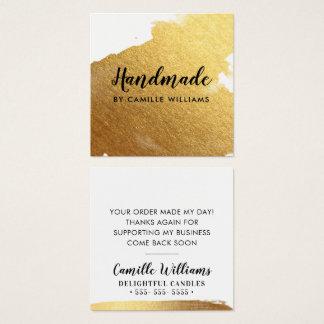Cartão De Visitas Quadrado Respingo luxe glamoroso HANDMADE da folha de ouro