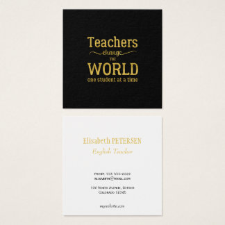 Cartão De Visitas Quadrado Roteiro preto elegante da tipografia das citações