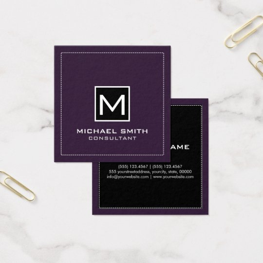 Cartão De Visitas Quadrado Roxo escuro preto moderno elegante do monograma
