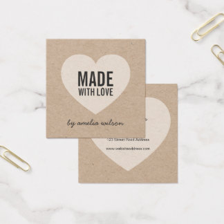 Cartão De Visitas Quadrado Rústico à moda feito com amor com coração Kraft