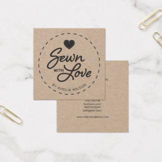 Cartão De Visitas Quadrado Rústico à moda Sewn com meios sociais Kraft do