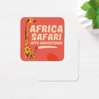 Cartão De Visitas Quadrado Safari de África na aventura!