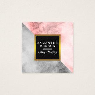 Cartão De Visitas Quadrado Salão de beleza de mármore moderno do preto & do