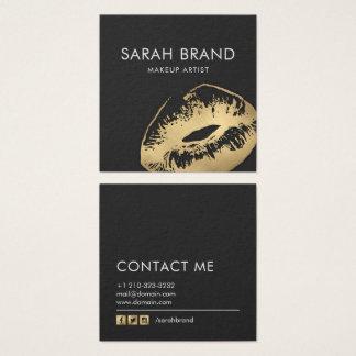 Cartão De Visitas Quadrado Salão de beleza do maquilhador dos lábios do ouro