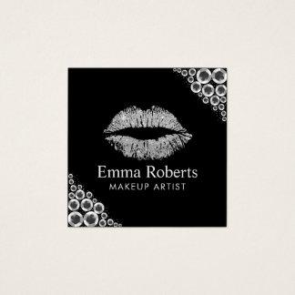 Cartão De Visitas Quadrado Salão de beleza moderno dos lábios do brilho de