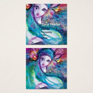 Cartão De Visitas Quadrado SENHORA AZUL MÁSCARA elegante, salão de beleza,