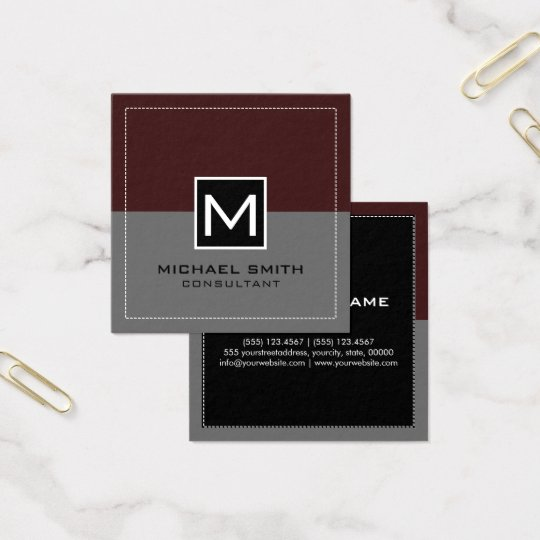 Cartão De Visitas Quadrado Sienna cinzento moderno elegante do monograma
