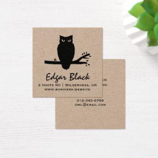 Cartão De Visitas Quadrado Silhueta assustador da coruja