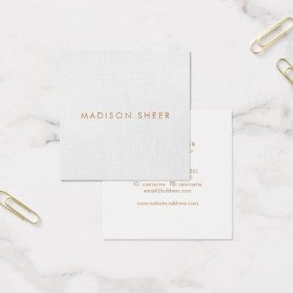 Cartão De Visitas Quadrado Simples, luz - cinza, minimalista moderno