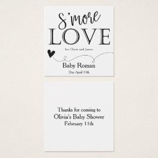 Cartão De Visitas Quadrado Tag do favor de S'More para o chá de fraldas