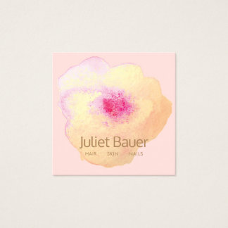 Cartão De Visitas Quadrado Termas cor-de-rosa bonitos do salão de beleza da