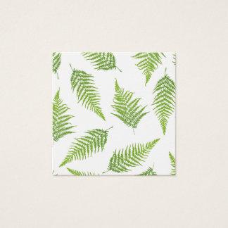 Cartão De Visitas Quadrado Teste padrão verde da silhueta da folha da