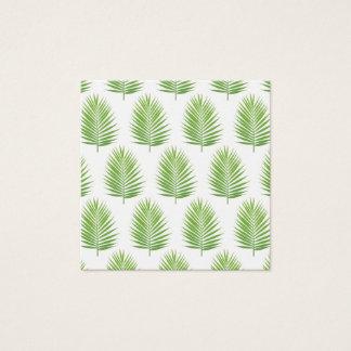 Cartão De Visitas Quadrado Teste padrão verde das folhas de palmeira