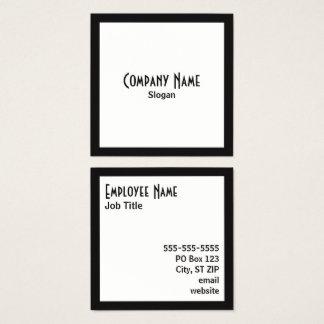 Cartão De Visitas Quadrado Texto preto do preto do quadrado branco da beira