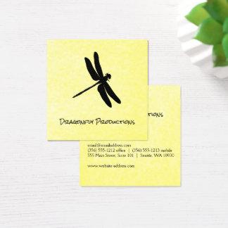 Cartão De Visitas Quadrado Textura amarela (preta) da libélula