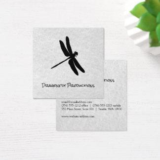 Cartão De Visitas Quadrado Textura cinzenta (preta) da libélula