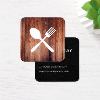 Cartão De Visitas Quadrado Utensílios de madeira rústicos