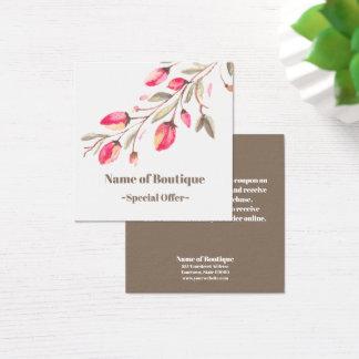 Cartão De Visitas Quadrado Vale chique do disconto do boutique da flor