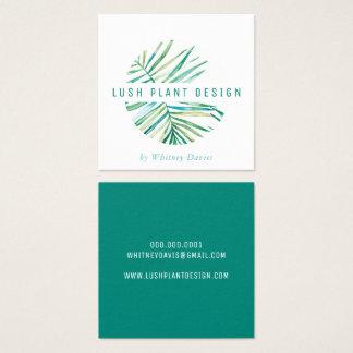 Cartão De Visitas Quadrado Verde botânico luxúria da vida do LOGOTIPO EM